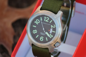 Bushcraft watch with Green NATO strap