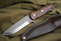 Cosmo S35VN Heavy Bushcraft Knife Maple Burl
