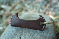Canadian made Leather Canoe Keyring