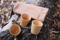 Reindeer Leather bag and 3 shot cups Photo