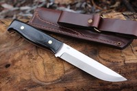 Enzo Camper D2 Black Micarta with Red Liners