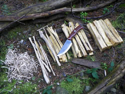 Fire preparation with the Highland Bushcraft Knife