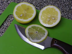 Slicing a lemon